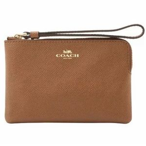 COACH Leather Corner Zip Wristlet